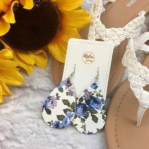 Floral Rose Faux-Leather Teardrop Earrings